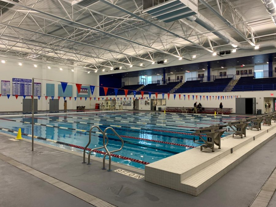 This season, the swimming and diving team is training in Lamar's new state-of-the-art pool.