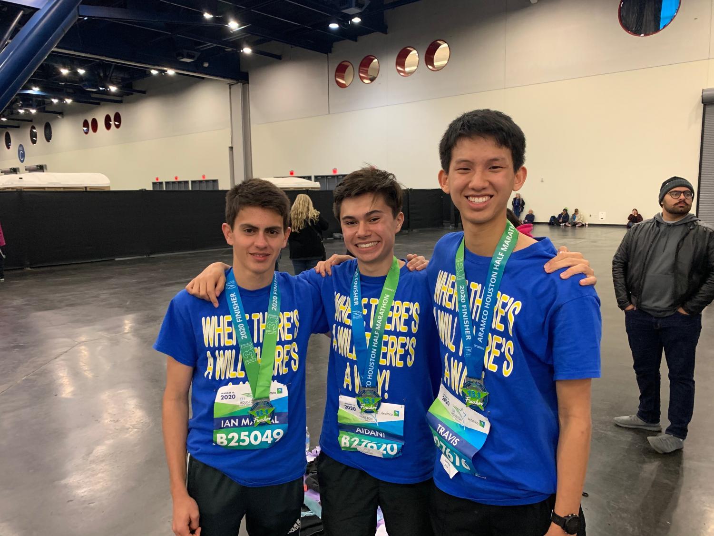 Seniors Aidan Aguilar, Travis Ho and Ian Mayral Boyle ran the half marathon.