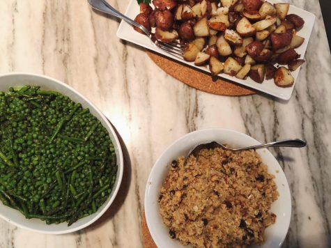 The Maierson family prepared a multitude of side dishes such as potatoes and peas for Passover dinner.