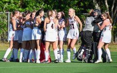 The field hockey team celebrates after winning SPC in 2019. This year, however, the fall SPC season has been cancelled.