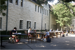 Tables and chairs around campus are arranged to allow for social distancing.