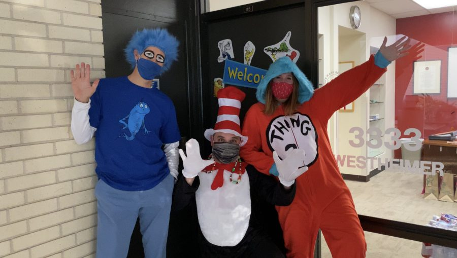 Lower School administrators pose together in their Dr. Seuss-themed outfits.
