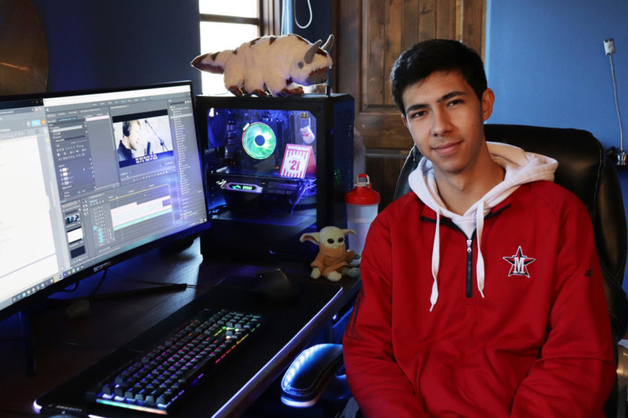 Matthew Samson edits at his home studio. His videos have collectively surpassed one million views on YouTube.