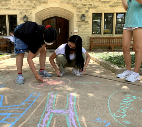 Freshmen Serina Yan and Alexys Shae Tantuco collaborate to sketch their advisorys mascot and logo on the Plaza. Every freshman signs their name adjacent to the chalk creations.