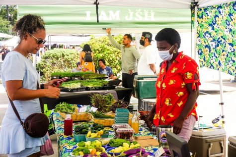 Venders showcase their produce, which is all grown within 180 miles of Houston.
