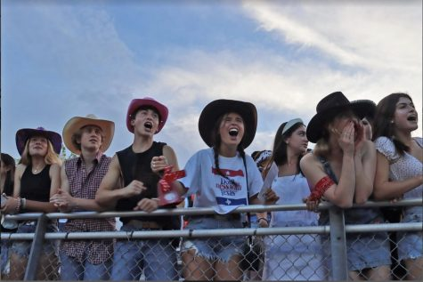 """Seniors, decked out in western gear, send a loud and clear message to John Cooper not to mess with the Mavericks. """"Fans make the games much more enjoyable,"""" Co-Captain Michael Skaribas said. """"They give us extra energy when we're on the field."""""""