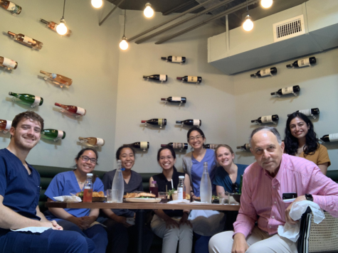 Senior Meeah Bradford enjoys lunch with her internship sponsor, Dr. Don Schaffer.