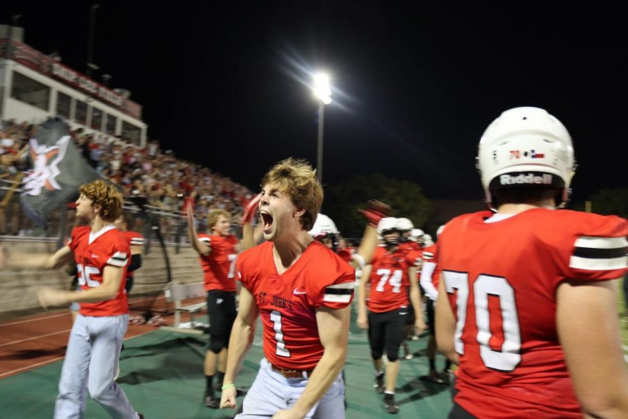"""Senior John Avery Foutch roars as the Mavs score against the Knights. """"Beating Episcopal was very exciting and helped set the standard for the younger players,"""" Foutch said, """"but ultimately it's just another stepping stone on our road to SPC."""""""